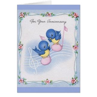 Vintage Blue Bird Musical Anniversary Card