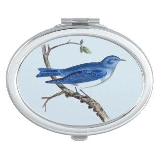 Vintage Blue Bird Oval Compact Mirror