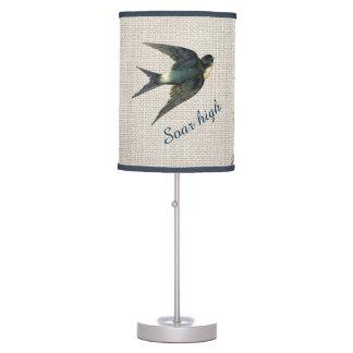 Vintage Blue Bird Soar High Cherries Burlap Lamp