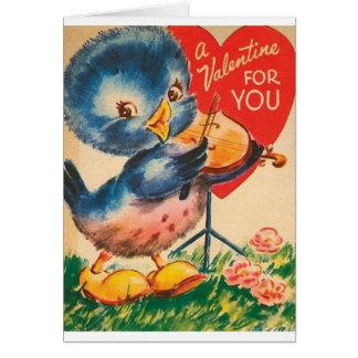 Vintage Blue Bird Violin Valentine's Day Card
