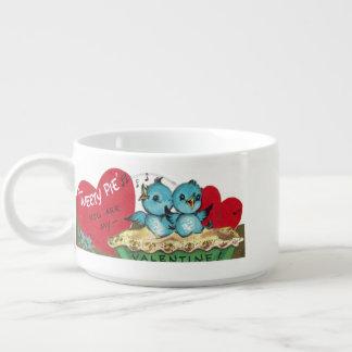 Vintage Blue Birds on Homemade Pie Bowl