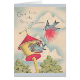 Vintage Blue Birds Wedding Greeting Card