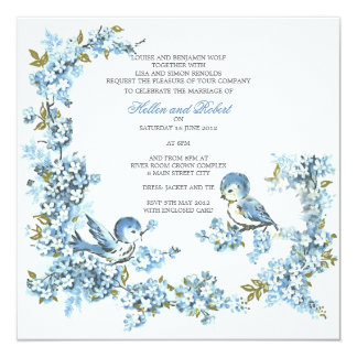 "Vintage Blue Birds Winter Wedding 5.25"" Square Invitation Card"