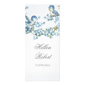 Vintage Blue Birds Winter Wedding Ceremony Program