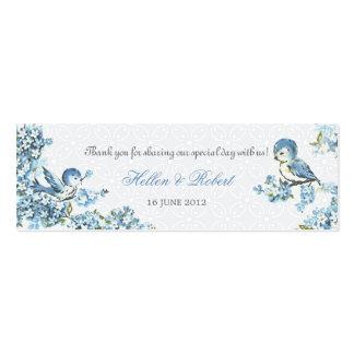 Vintage Blue Birds Winter Wedding Favor Tag Mini Business Card