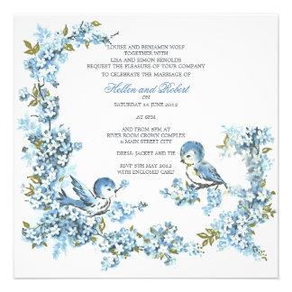 Vintage Blue Birds Winter Wedding Personalized Announcements