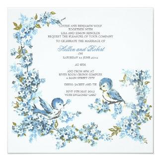 "Vintage Blue Birds Winter Wedding 5.25"" Square Invitation Card"
