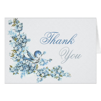 Vintage Blue Birds Winter Wedding Thank You Card