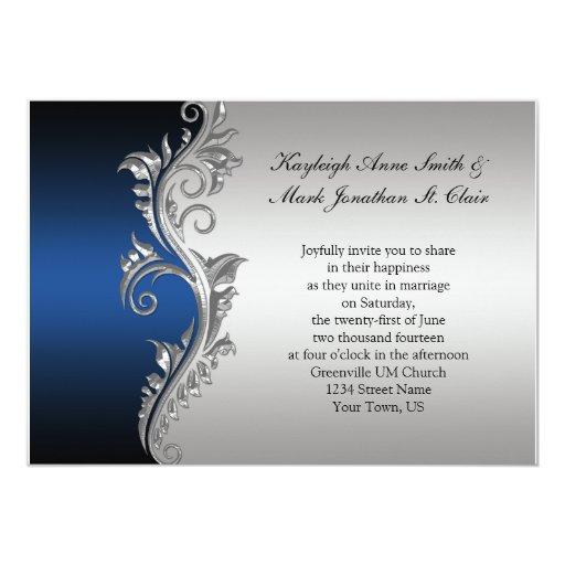 Dark Blue Wedding Invitations: Vintage Blue Black And Silver Wedding Invitation