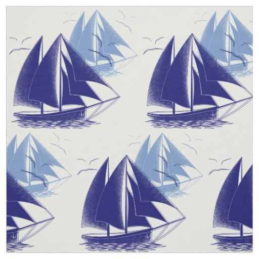 Vintage blue boat boy's room nautical fabric