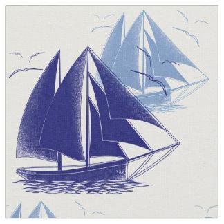 Vintage blue boat boy's room nautical fabric
