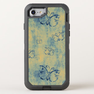 Vintage Blue Butterflies Pattern OtterBox Defender iPhone 8/7 Case