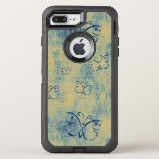 Vintage Blue Butterflies Pattern OtterBox Defender iPhone 8 Plus/7 Plus Case