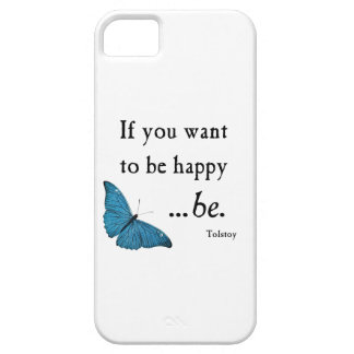 Vintage Blue Butterfly and Tolstoy Happiness Quote Case For The iPhone 5
