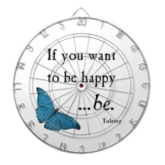 Vintage Blue Butterfly and Tolstoy Happiness Quote Dart Board