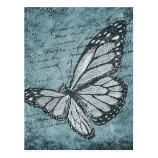 Vintage Blue Butterfly Calligraphy Design Postcard