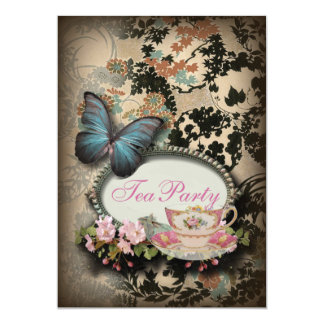 """vintage Blue Butterfly floral  bridal tea party 5"""" X 7"""" Invitation Card"""