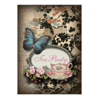 vintage Blue Butterfly floral  bridal tea party Invitations