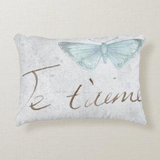 Vintage Blue Butterfly || Je t'aime Decorative Pillow
