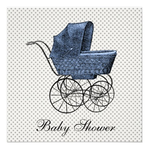Vintage Blue Carriage Pram Baby Boy Shower Announcements