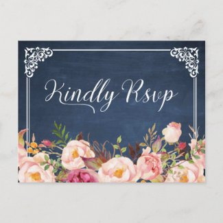 Vintage Blue Chalkboard Floral Wedding RSVP Invitation Postcard