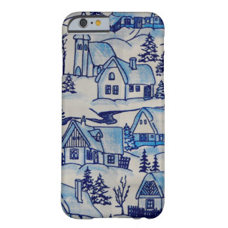 Vintage Blue Christmas Holiday Village Barely There iPhone 6 Case