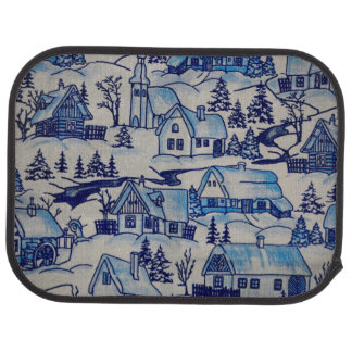 Vintage Blue Christmas Holiday Village Car Liners
