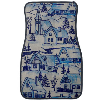 Vintage Blue Christmas Holiday Village Car Mat