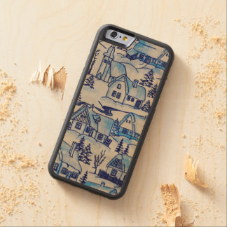Vintage Blue Christmas Holiday Village Carved Maple iPhone 6 Bumper Case