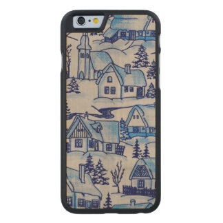 Vintage Blue Christmas Holiday Village Carved Maple iPhone 6 Case