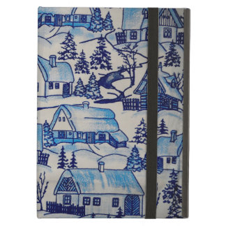 Vintage Blue Christmas Holiday Village Case For iPad Air