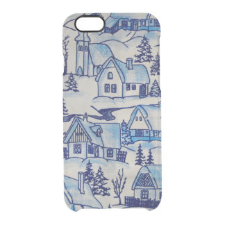 Vintage Blue Christmas Holiday Village Clear iPhone 6/6S Case