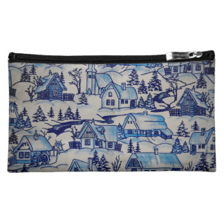 Vintage Blue Christmas Holiday Village Cosmetic Bag