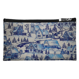 Vintage Blue Christmas Holiday Village Cosmetic Bags
