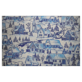 Vintage Blue Christmas Holiday Village Fabric