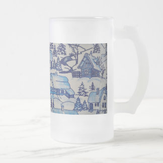 Vintage Blue Christmas Holiday Village Frosted Glass Beer Mug