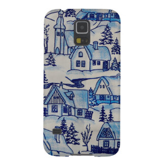 Vintage Blue Christmas Holiday Village Galaxy S5 Cover
