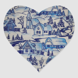 Vintage Blue Christmas Holiday Village Heart Sticker