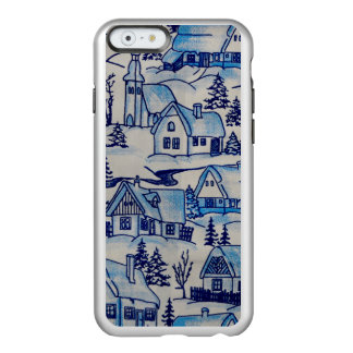 Vintage Blue Christmas Holiday Village Incipio Feather® Shine iPhone 6 Case