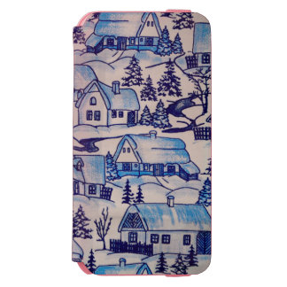 Vintage Blue Christmas Holiday Village Incipio Watson™ iPhone 6 Wallet Case