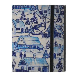 Vintage Blue Christmas Holiday Village iPad Cover