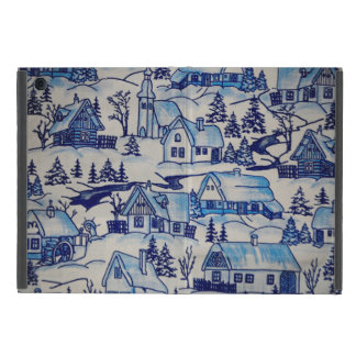 Vintage Blue Christmas Holiday Village iPad Mini Case