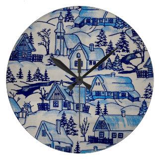 Vintage Blue Christmas Holiday Village Large Clock