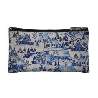 Vintage Blue Christmas Holiday Village Makeup Bags