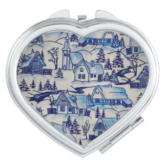 Vintage Blue Christmas Holiday Village Mirror For Makeup
