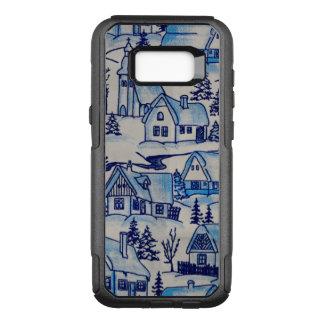 Vintage Blue Christmas Holiday Village OtterBox Commuter Samsung Galaxy S8+ Case