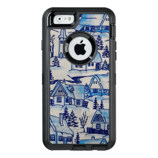 Vintage Blue Christmas Holiday Village OtterBox Defender iPhone Case
