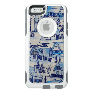 Vintage Blue Christmas Holiday Village OtterBox iPhone 6/6s Case