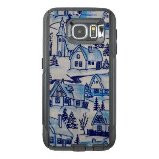 Vintage Blue Christmas Holiday Village OtterBox Samsung Galaxy S6 Case