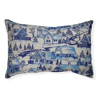 Vintage Blue Christmas Holiday Village Pet Bed